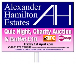 AH Estates Charity quiz slip design logos T Board